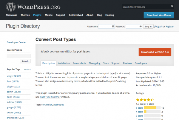 WordPress › Convert Post Types « WordPress Plugins